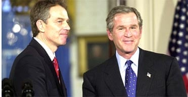 Tony Blair and George Bush at a press conference in the White House on January 31 2003. Photograph: Shawn Thew/AFP