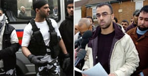 Omar Khayam, left, dressed as a suicide bomber during Saturday's protests in London, and outside his home in Bedford today, right, apologising for his behaviour