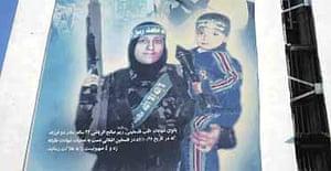 The Palestinian suicide bomber Reem Saleh al-Riyashi, depicted on a Tehran wall