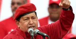 The Venezuelan president, Hugo Chávez talks to his supporters during a rally in Caracas. Photograph: Nicolas Pineda/EPA
