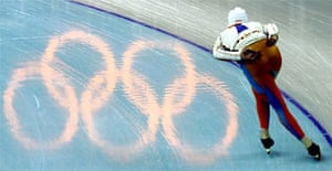 Bob de Jong of the Netherlands Olympic speed skating team works out at the Oval Lingotto in Turin. Photograph: Jasper Juinen/AP