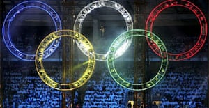 Fireworks light up the Olympic rings during the Opening Ceremony of the opening ceremony in Turin. Photograph: Sandra Behne/Getty Images