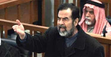 Saddam Hussein in court in Baghdad