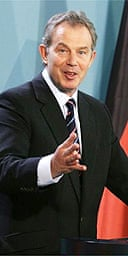 Tony Blair at a joint news conference with German chancellor Angela Merkel in Berlin