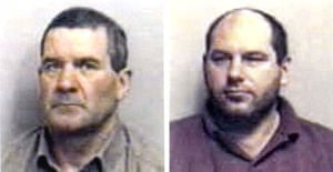 """""""Essex boys"""" killers Michael Steele (l), 62, and Jack Whomes, 44. Photograph: Essex police/PA"""