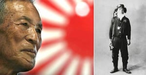 Shigeyoshi Hamazono, 81, today (left); and (right) Mr Hamzono as a Japanese kamikaze pilot in the second world war. Photograph: Jeremy Sutton-Hibbert