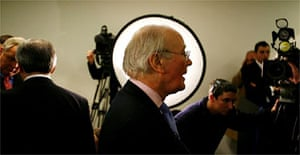 Sir Menzies Campbell meets the press. Photograph: Martin Argles