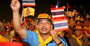 People in Bangkok demonstrate against the Thai prime minister, Thaksin Shinawatra. Photograph: Barbara Walton/EPA