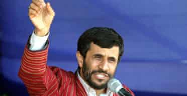 The Iranian president, Mahmoud Ahmadinejad, tells a rally in the city of Agh Ghala  that no power can deny his country its nuclear technology. Photograph: Sajjad Safari/AP