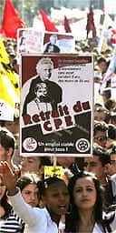 French students demonstrate in the southern city of Nice