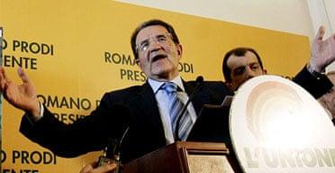 Romano Prodi speaks to journalists during a press in Rome. Photograph: Gregorio Borgia/AP