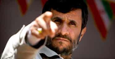 Iran's president, Mahmoud Ahmadinejad, speaks during a visit to Taibad. Photograph: Reuters