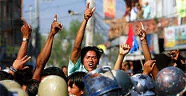A Nepalese pro-democracy protester shouts slogans during a protest in Katmandu
