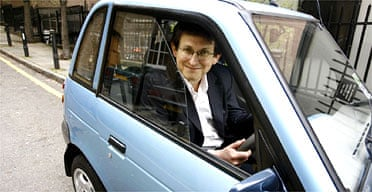 Alan Rusbridger  in his electric car