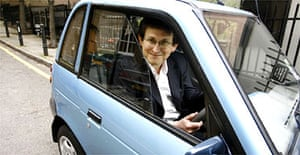 Alan Rusbridger and his G-Wiz electric car. Photograph: Martin Argles