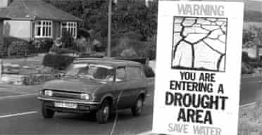 A public information notice warning about the drought in the Bridport area of Dorset in 1976. Photograph: Frank Barratt/Keystone/Getty