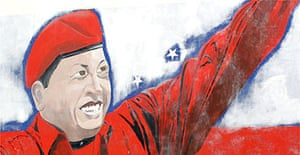 A mural of president Hugo Chavez in Caracas