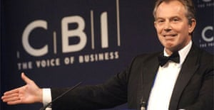 Tony Blair delivers a speech at the CBI annual dinner in London. Photograph: Stefan Rousseau/PA