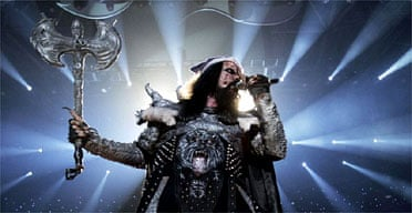Finland's Eurovision entry, Lordi, perform the winning song Hard Rock Hallelujah. Photograph: Roland Magunia/AFP/Getty