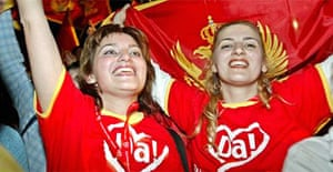People celebrate in Podgorica after Montenegro votes for independence in referendum. Photograph: Koca Sulemanovic/EPA