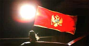 A supporter of Montenegrin independence celebrates in Podgorica