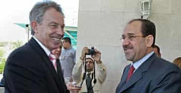 Tony Blair and the Iraqi prime minister, Nuri al-Maliki