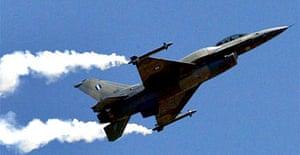 Photograph shows a Greek Air Force F-16 jet fighter. Photograph: Pantelis Saitas/EPA