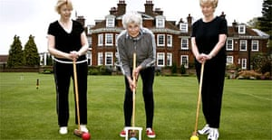 Barbara Evans (centre) and friends playing croquet at Castle Retirement Village, Berkhamsted. Photograph: David Sillitoe