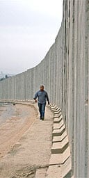 A concrete section of the 'security fence' near the border of Israel and the Palestinian West Bank