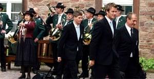 England players arrive at the team hotel near Baden Baden. Photograph: Owen Humphreys/AP