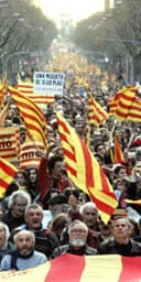 Catalan nationalists march in Barcelona in support of greater autonomy for their region from Madrid. Photograph: Manu Fernandez/AP