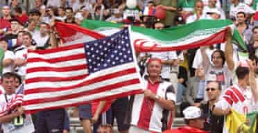 Iranian and US fans at the 1998 football World Cup in France. Photograph: Patrick Kovarik/AFP/Getty