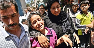 Young girl mourns at a Gaza funeral