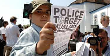 Young boy at a demonstration against the Forest Gate raid