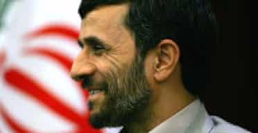 The Iranian president, Mahmoud Ahmadinejad, at a press conference in Shanghai. Photograph: Elizabeth Dalziel/AP