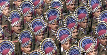 Indian soldiers rehearse for their Republic Day parade in New Delhi. Photograph: Pawel Kopczynski/Reuters