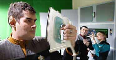 Trekkie fans ironing out costume creases and setting up the next shot in their kitchen studio