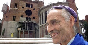 Justo Gallego poses in front of cathedral he has built in Mejorada del Campo