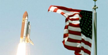 The space shuttle Discovery takes off from the Kennedy Space centre in Cape Canaveral, Florida. Photograph: Mark Wilson/Getty