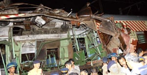 One of the trains targeted in a series of attacks on Mumbai rail network. Photograph: Indranil Mukherjee/AFP/Getty Images