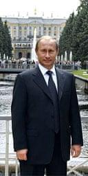 Russian premier Vladimir Putin stands outside Peterhof, an opulent St Petersburg estate. Photograph: Itar Tass/AP