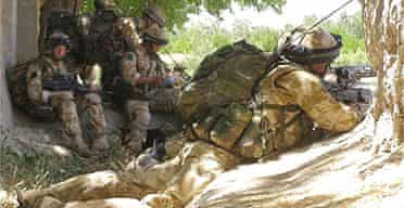British soldiers engaged in fighting in Nawzad, Afghanistan