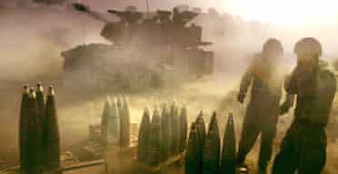 The Israeli army fires heavy artillery into southern Lebanon. Photograph: Muhammed Muheisen/AP