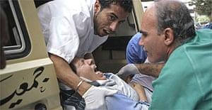 A Lebanese woman is taken to hospital