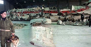 The remains of Itavia Airlines flight 870 in an aircraft hangar in Rome after it was put back together by accident investigators