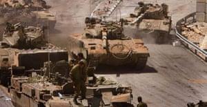 Israeli tanks on the Israel-Lebanon border.