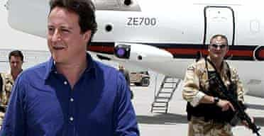 David Cameron arrives in Kandahar, Afghanistan. Andrew Parsons/PA