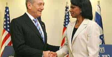 Israeli prime minister Ehud Olmert and US secretary of state Condoleezza Rice