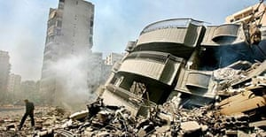Bombed apartment building in Beirut