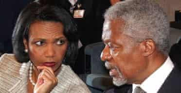 UN secretary general Kofi Annan and US secretary of state Condoleezza Rice